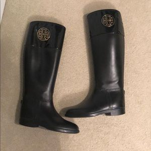 Black Tory Burch rain boots